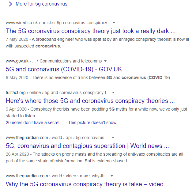 "First page of search in Google for ""5g coronavirus"" on 27-05-2020"
